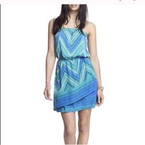 Express scarf dress blue, strapless, size L woman